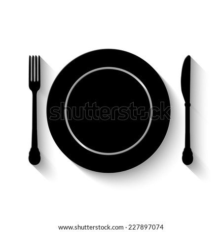 plate, knife and fork icon - vector illustration with shadow - stock vector