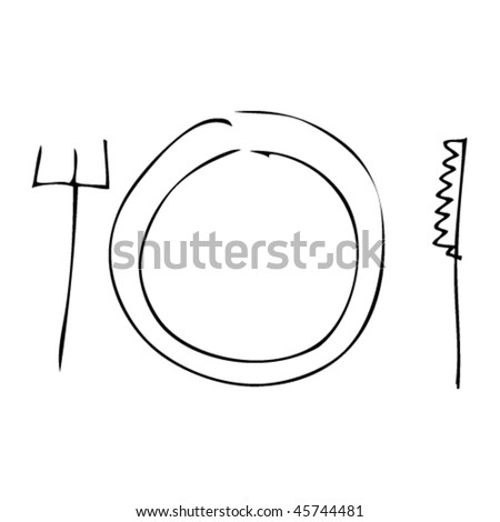 plate, knife and fork in kids drawing style - stock vector