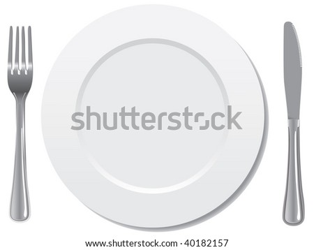 plate knife and fork vector - stock vector