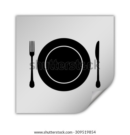 plate knife and fork vector icon