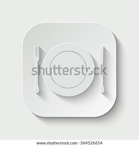 plate knife and fork vector icon - paper button - stock vector