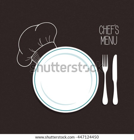 Plate, knife and fork with hand drawn chef hat over blackboard background. Restaurant menu concept