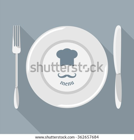 Plate, knife and fork with long shadows. Dining etiquette. Foods Service icon. Menu card. Simple flat vector illustration, EPS 10. - stock vector