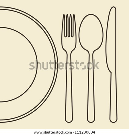 Plate, knife, fork and spoon - stock vector