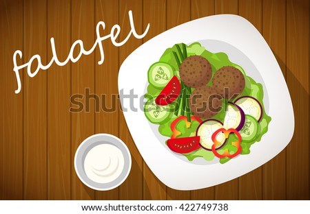 Plate of falafel on wooden table. Top view. - stock vector