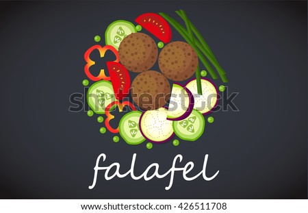 Plate of falafel. Top view. - stock vector