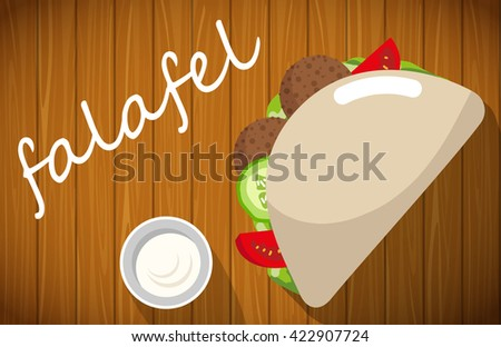 Plate of stuffed falafel with pita bread on wooden table.  - stock vector