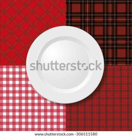 plate on tablecloth