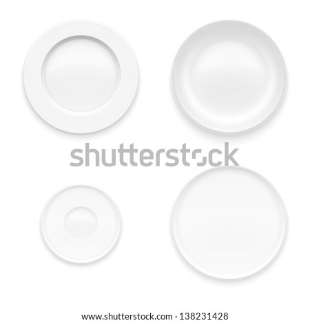 Plate set. Kitchen dishware. - stock vector