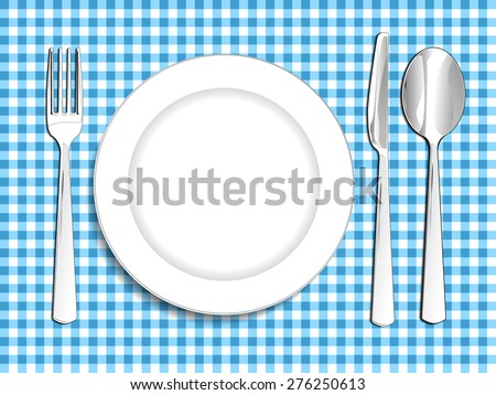Plate setting white blue checkered tablecloth spoon knife and fork vector illustration