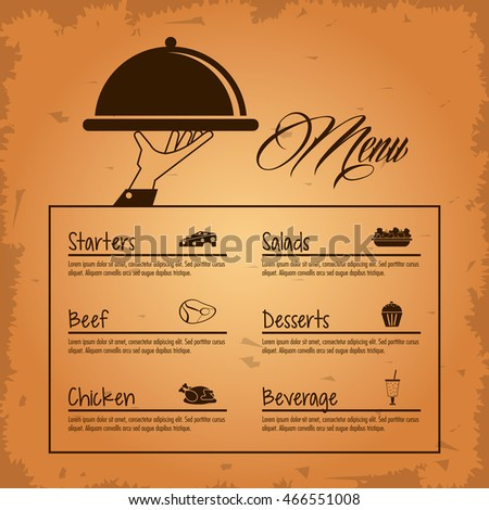 Restaurant Kitchen Illustration starters salads beef dessert beverage menu stock vector 466551038