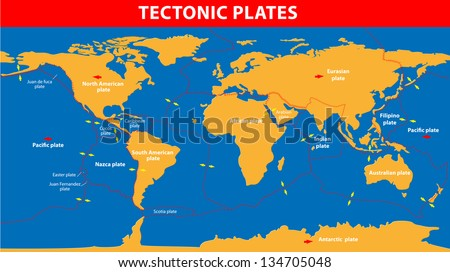 Plate tectonics.  Earth's lithosphere, scientific theory. - stock vector