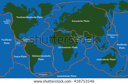 Plate Tectonics World Map Fault Lines Stock Vector - Fault line world map