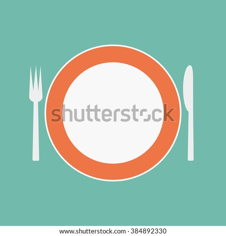 Plate with a fork and knife - stock vector