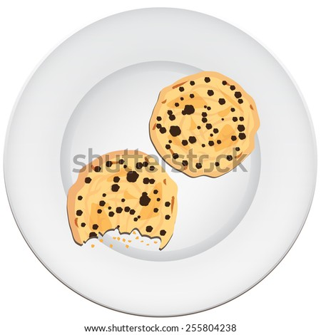 Plate with biscuits - stock vector