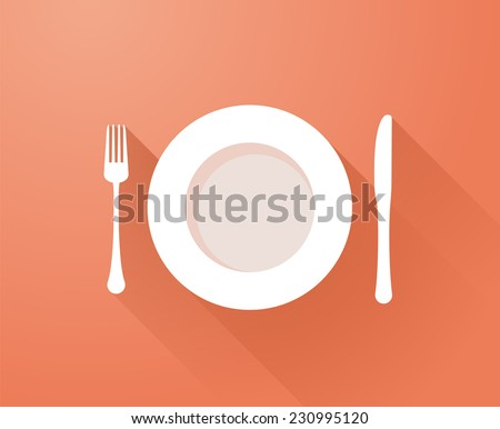 Plate with cutlery and long shadows - stock vector