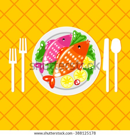 Plate with fish and cutlery fork, knife, spoon. Tableware. Fish menu. Feed the fish for dinner. Order fish menu. Dish decorated with lemon and green salad. Cartoon illustration - stock vector