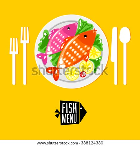 Plate with fish and cutlery fork, knife, spoon. Tableware with Fish menu logo. Order fish menu. Dish decorated with lemon and green salad. Flat logo - stock vector
