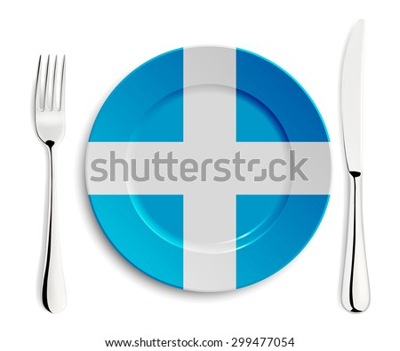 Plate with flag of Greece with fork and knife isolated on white. Vector EPS10 illustration.  - stock vector