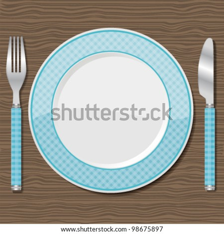 Plate with fork and knife. Vector illustration.