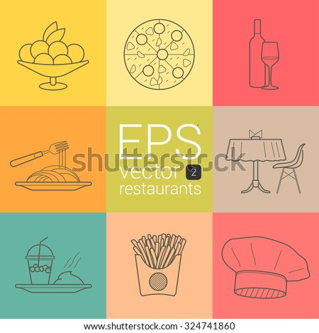 Plate with fruit and ice cream, pizza with sausage, tomato, cheese, mushrooms, wine, glass, spaghetti, macaroni and fork, covered table with napkins and chair, watermelon shake, mashed potatoes vector - stock vector