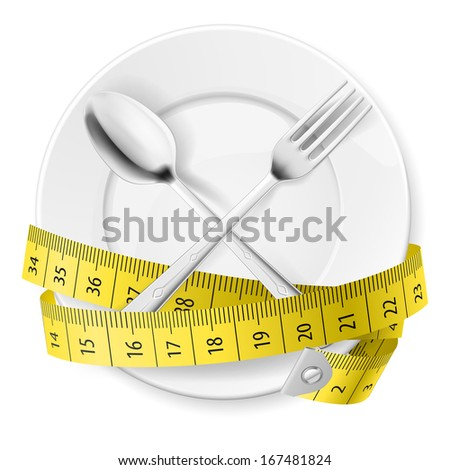 Plate with measuring tape and crossed fok and spoon. Diet concept. - stock vector