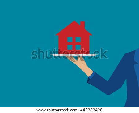 Plate with red house.  Concept business illustration. Vector flat - stock vector