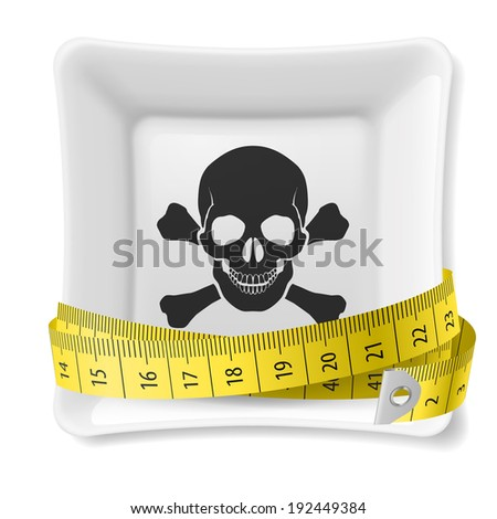 Plate with skull and crossbones image and tape measure around - stock vector