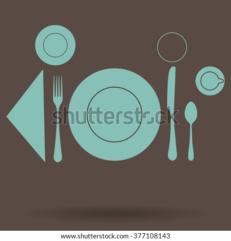 plate with spoon, knife and fork