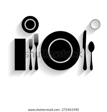 plate with spoon, knife and fork with shadow - stock vector