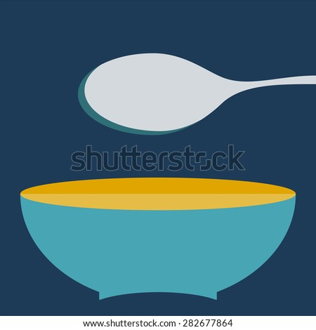 plate with spoon vector illustration. Set of kitchen items - stock vector
