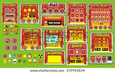 Platform Game User Interface For Tablet/ Illustration  of a platform game user interface, in cartoon style with  basic buttons and icons for tablet pc - stock vector