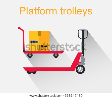 Platform trolleys icon design style. Warehouse and forklift truck, truck and jack, cargo cart, delivery and lift, equipment industry, industrial loader illustration - stock vector