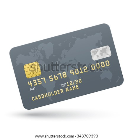 Platinum Credit card isolated on white background. Vector illustration.