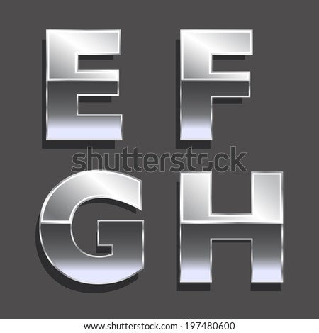 Platinum letters E, F, G, H.. Concept of luxury, status, wealth. Vector icons - stock vector