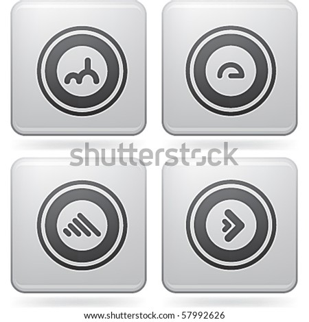 Platinum Square 2D Icons Set: Abstract
