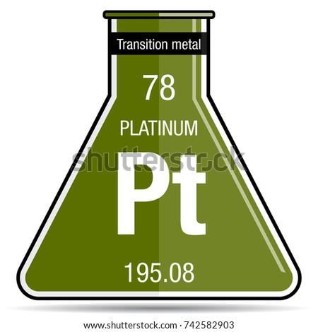 Platinum Symbol On Chemical Flask Element Stock Vector 742582903