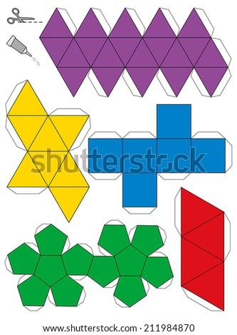 Platonic Solids Paper Model Template - stock vector