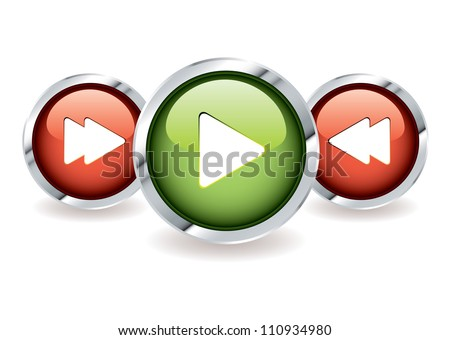 Play and fast forward icon buttons with rewind in red and green - stock vector