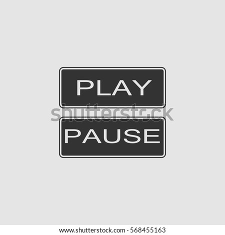 Play and pause button icon flat. Black pictogram on grey background. Vector illustration symbol