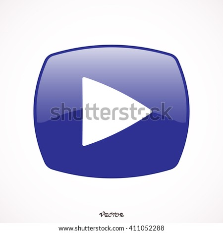 Play blue white button color. Rounded square web button isolated.