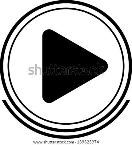 Play button black - stock vector