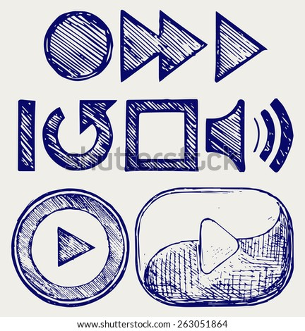 Play button. Doodle style - stock vector