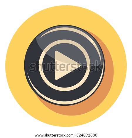 play button flat icon in circle - stock vector