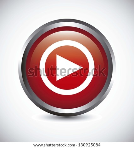 play button over gray background. vector illustration - stock vector