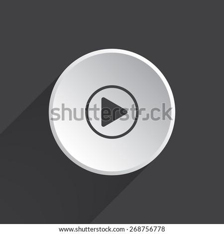 Play button web icon, flat design - stock vector
