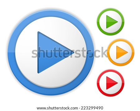 Play buttons, four colors, vector eps10 illustration - stock vector