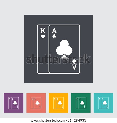 Play card. Single flat icon on the button. Vector illustration.