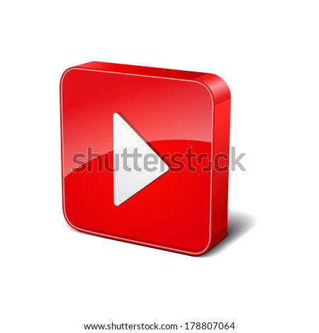 Play 3d Rounded Corner Red Vector Icon Button - stock vector