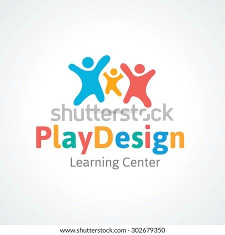 Play design,kids logo,kindergarten and skull logo,learning and education,Vector Logo Template - stock vector